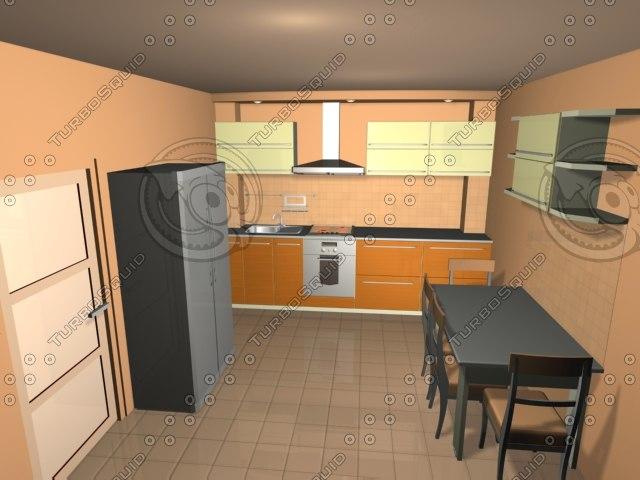 kitchen scene 3d 3ds
