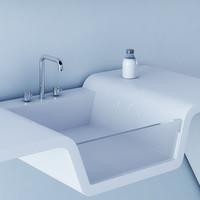 minimalistic bathroom design - 3d model