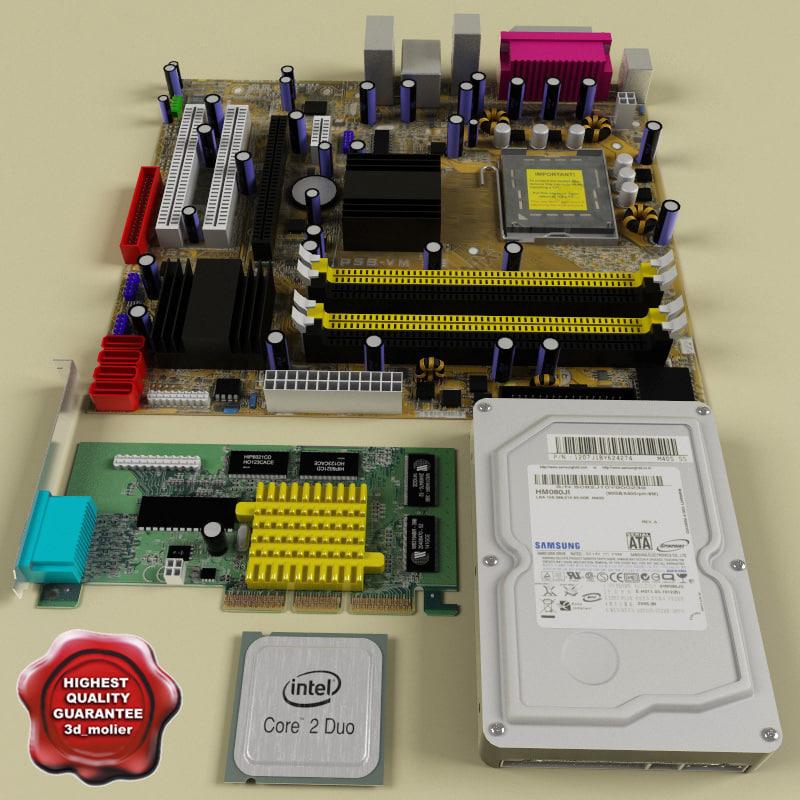 computer components card 3d model