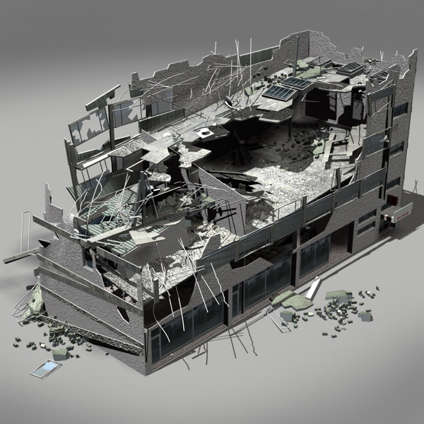 Destroyed building 3d model for Build house online 3d free