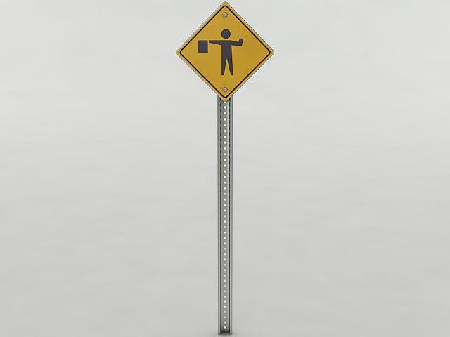 3d flagger ahead sign model