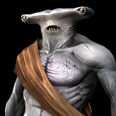 3d model of shark human creature