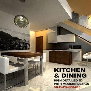 3d kitchen dining model