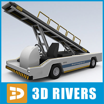 3d model airport baggage transporter car