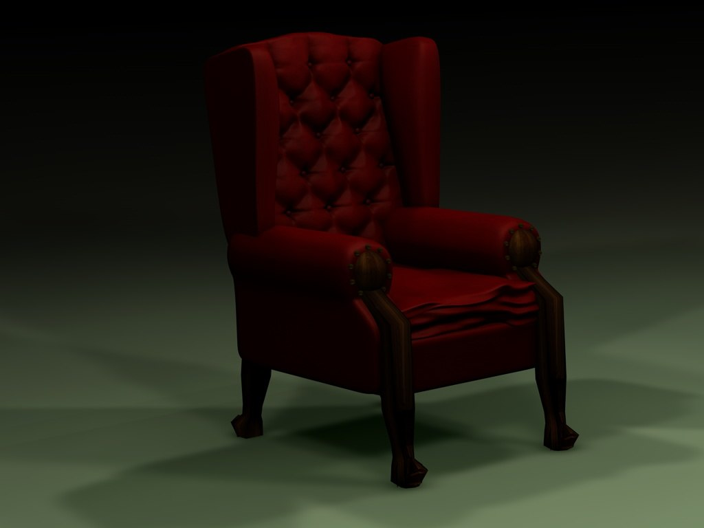 3d old red leather chair model