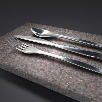 fork knife 3d c4d