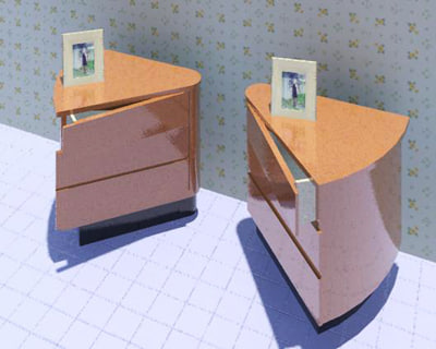 3d model triangular bedside