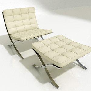 3d barcelona chair