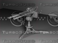 3d model stationary heavy machine gun