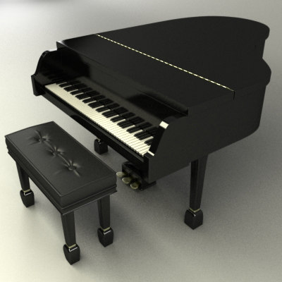 3dsmax Grand Piano Chair