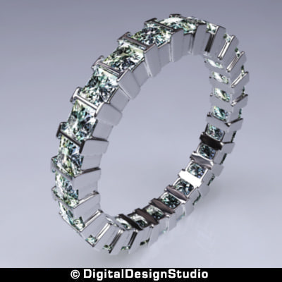 3d model ring diamond 169