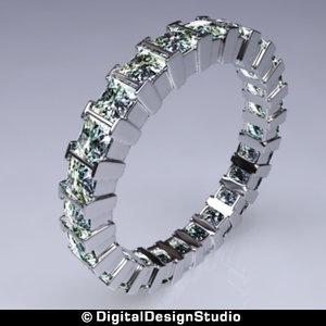 3d model ring diamond 169