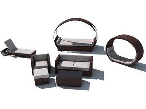 set rattan furniture 3ds