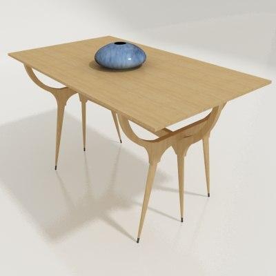 danish modern table 3d 3ds