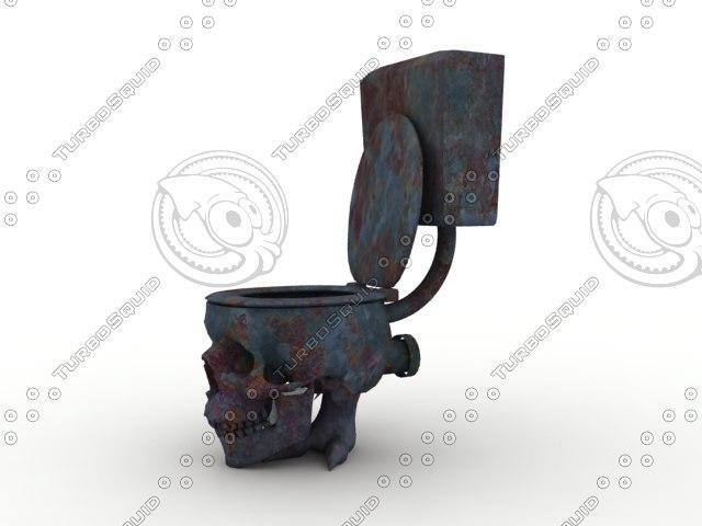toilet skull 3d obj