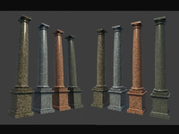 Marble Roman Tuscan Columns With Pedestal high low polygon