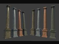 3d model column pedestal 4 marble