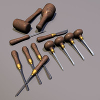 wood carving chisels 01 3d model