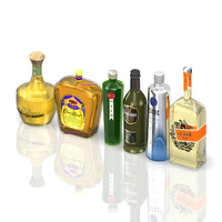 3d model alcohol bottles