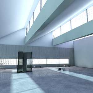 cinema4d interior renovated factory space
