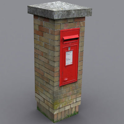 3ds max village postbox post