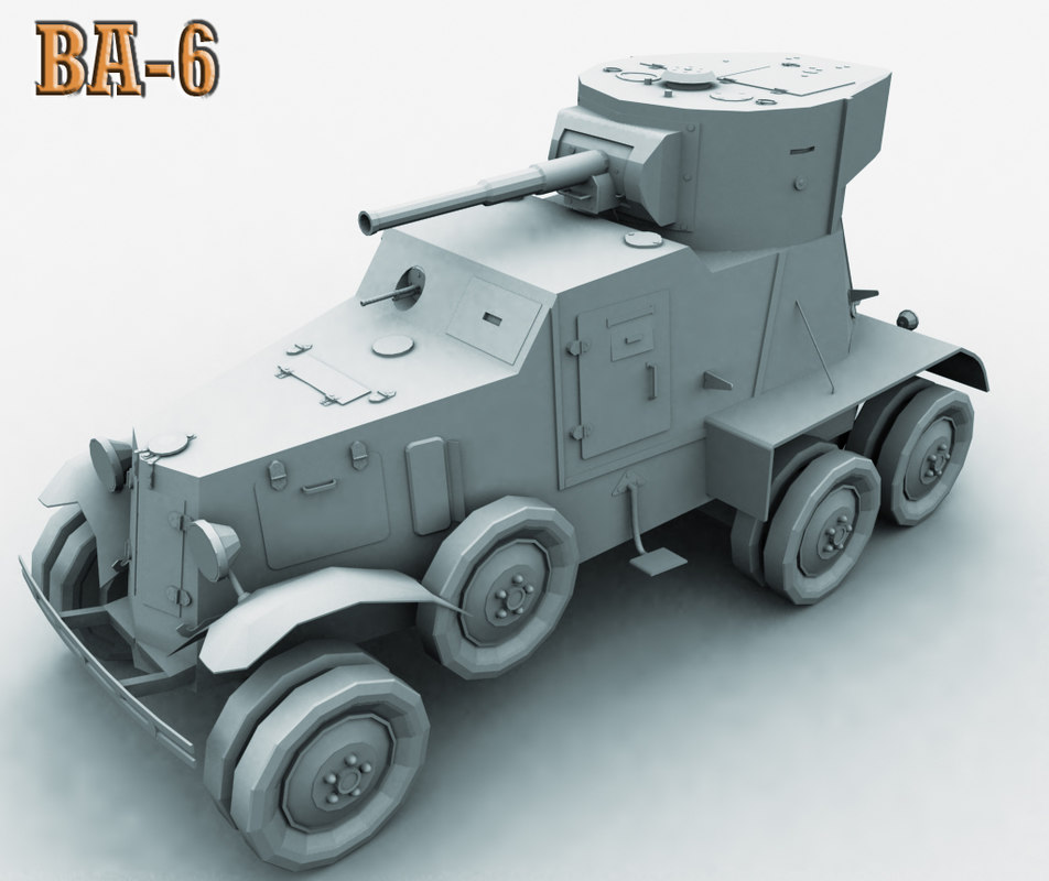 ba-6 armored car 3d model