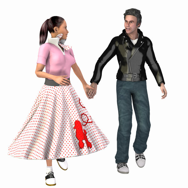 3d hop 1950 s poser clothing model