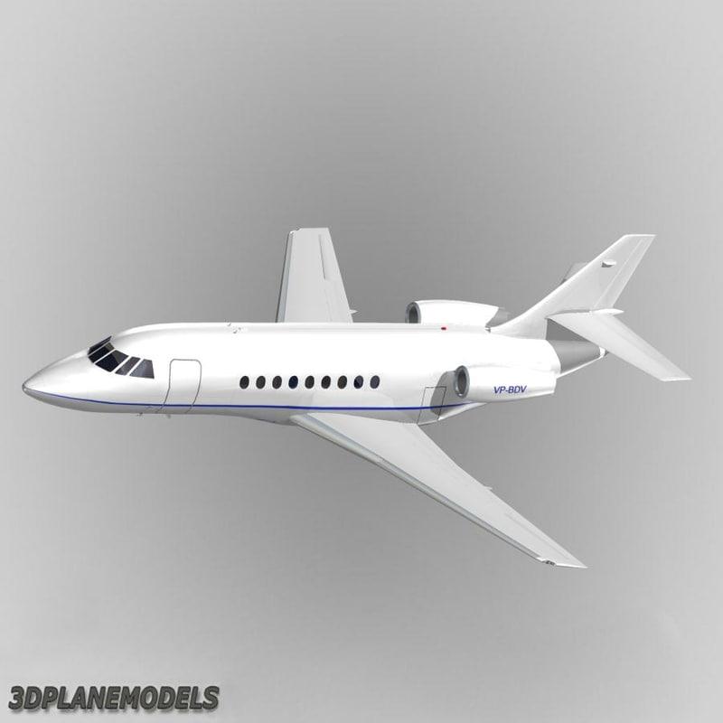 3d dassault falcon business jet model