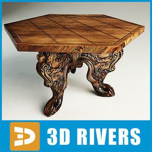 italian walnut table furniture 3d max