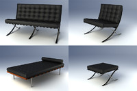 barcelona furniture mies 3ds