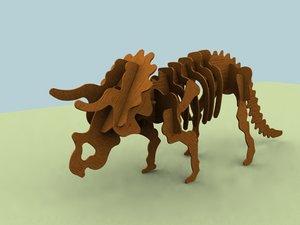 puzzle triceratops 3d 3ds