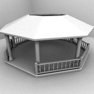 3d model gazebo park garden