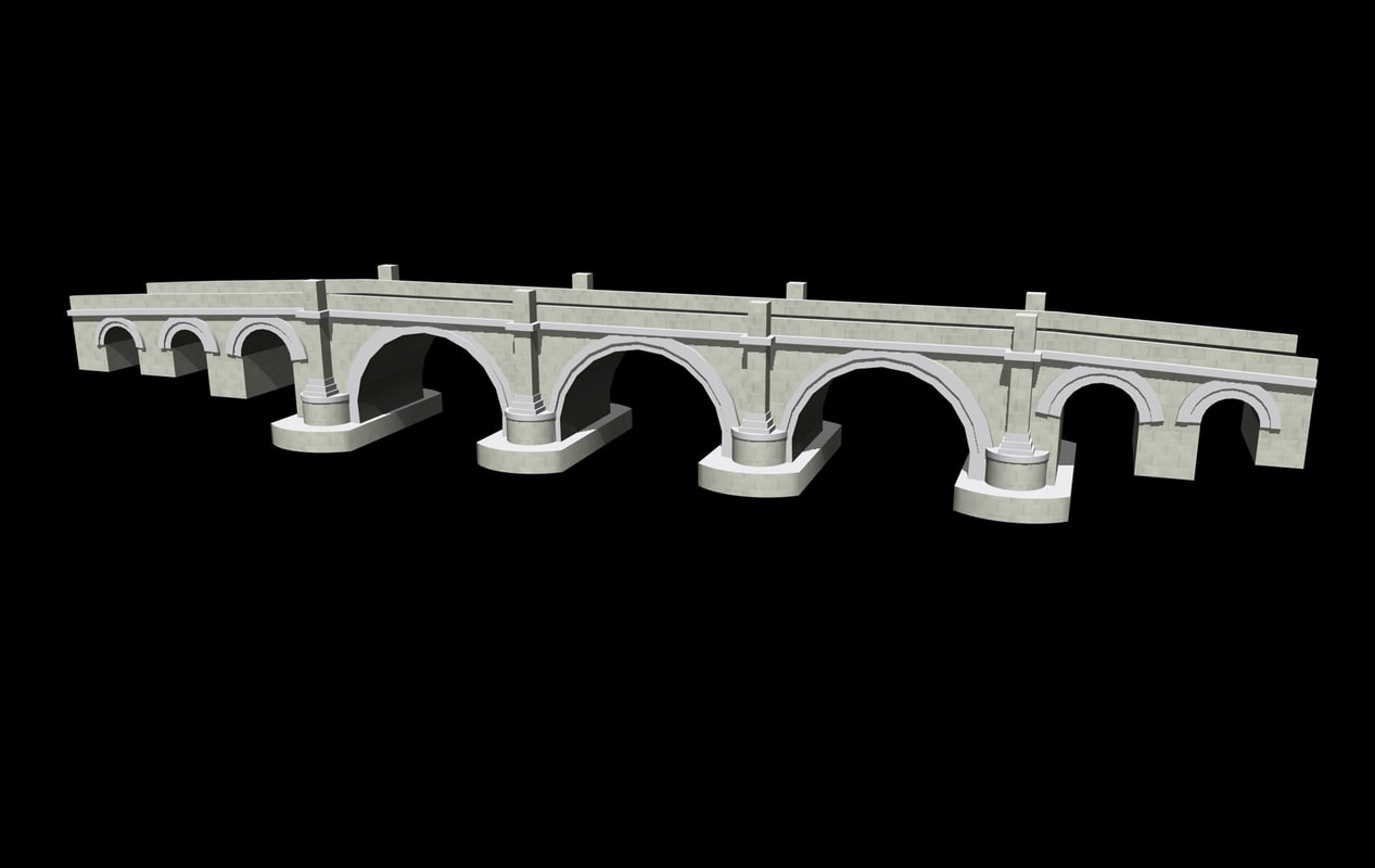 3d model stone road bridge roman