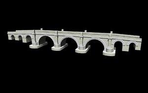 3d model stone road bridge roman