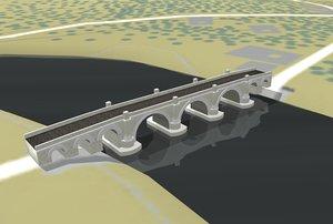 arched stone road bridge c4d