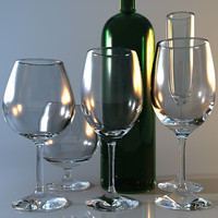 Collection of five wine glasses and a wine bottle