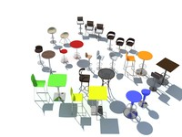 27 Bar stools and tables