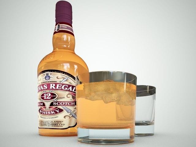 3d chivas regal whiskey bottle
