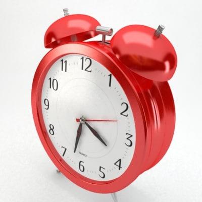 3d model red alarm clock