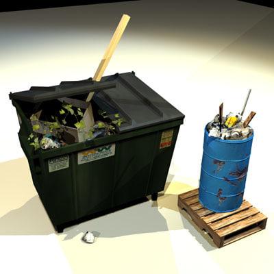3ds max dumpster drum 01 dump