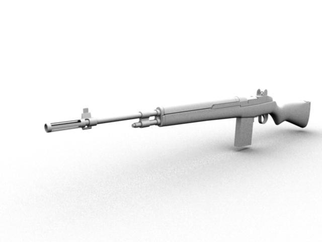 springfield m-1a rifle 3d obj
