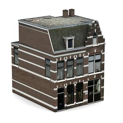 3d dutch historic brick house model