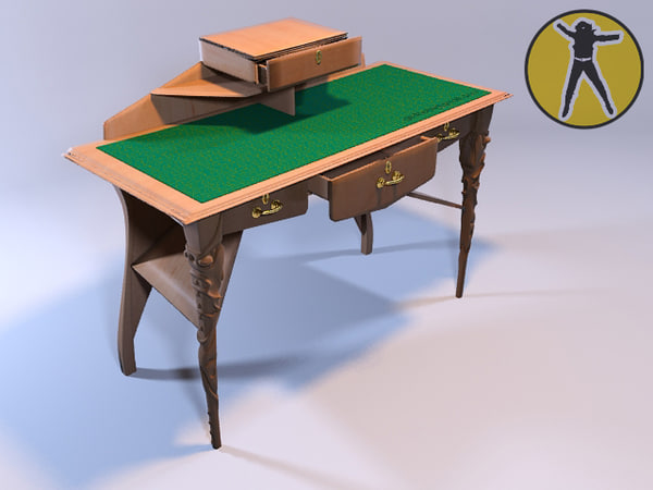 free 3ds model table bureau art nouveau