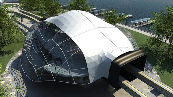 3d modern monorail station train
