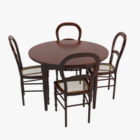 max antique wood table chairs
