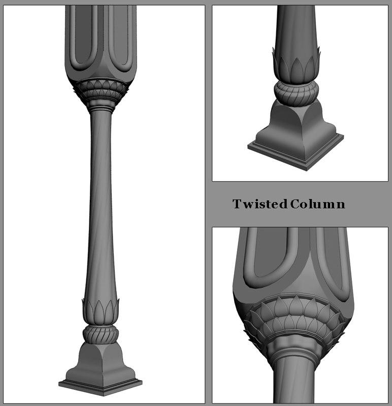 3d model decorative column twisted