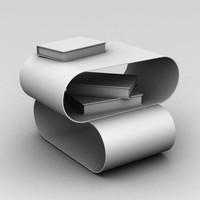 modern sofa table books 3d model