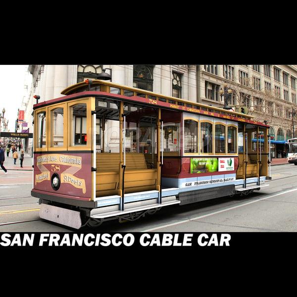famous san tramway cable car 3d model