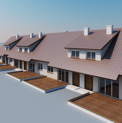 terraced houses 3d max