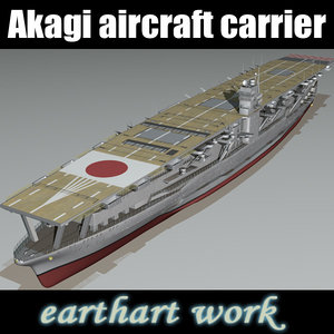 3d model akagi aircraft carrier japanese